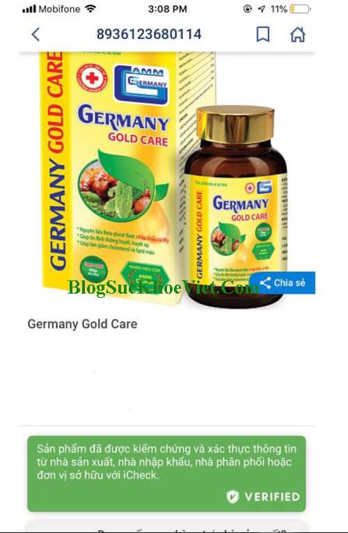 Thông tin về GermanyGoldCare được xác thực chính hãng trên Icheck