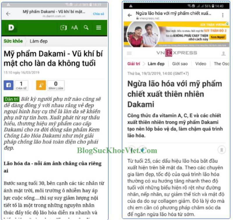 Truyền hình, báo chí cũng dành cho Dakami