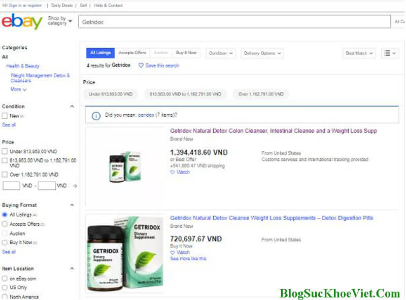 Website chính hãng Ebay bán Getridox