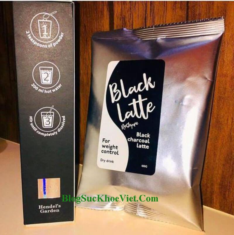 HDSD của Black Latte được mô tả sinh động trên bao bì