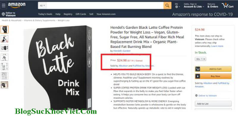 Giá bán của BlackLatte trên Amazon không khác nhiều với giá tại Việt Nam