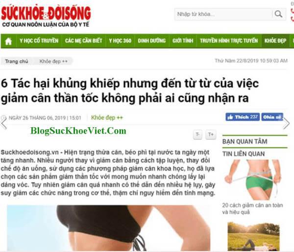 Đài báo viết về bột giảm cân Enzylim