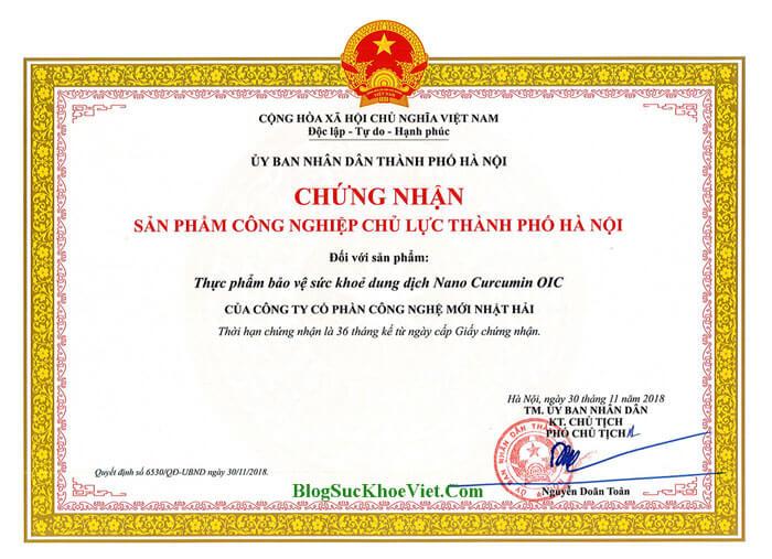 Giấy Chứng Nhận Bộ Y Tế Nano Curcumin OIC