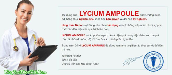 Giới khoa học nói gì về serum Lycium Ampoule?