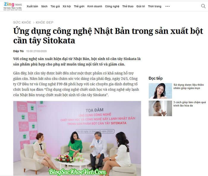 Báo chí viết gì về bột cần tây Sitokata