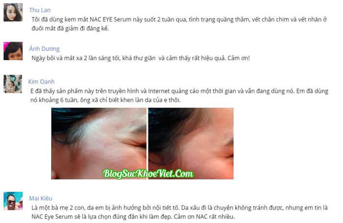 Khách hàng review về chất lượng sản phẩm NAC Eye Serum