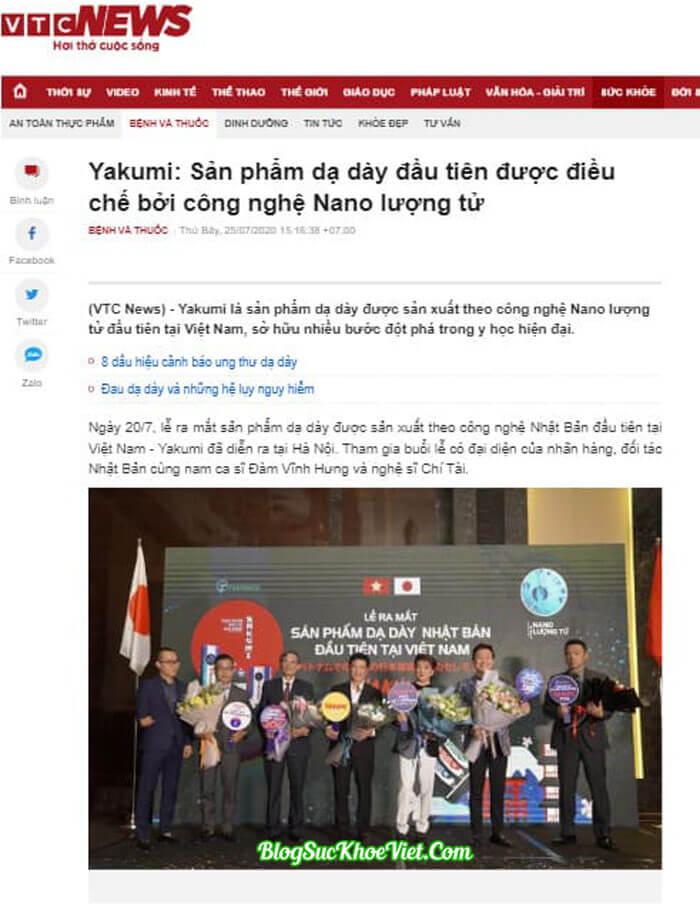 Báo chí đưa tin về viên sủi dạ dày Yakumi