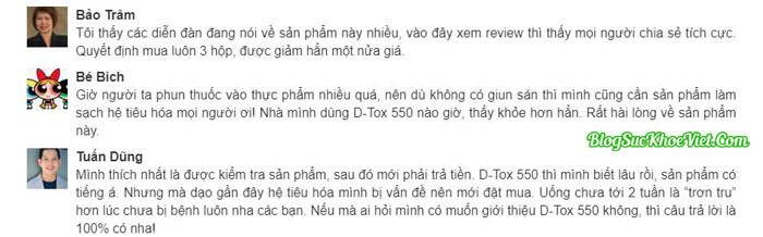 Khách hàng review về chất lượng viên sủi D-Tox 550