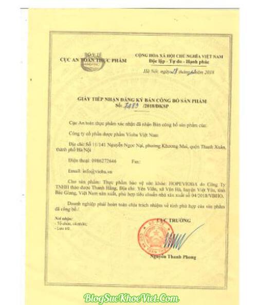 Bộ Y Tế kiểm định và cấp phép lưu hành Hopevioba