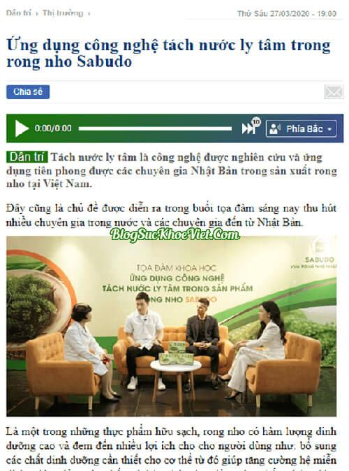 Báo chí đưa tin về Rong nho Sabudo