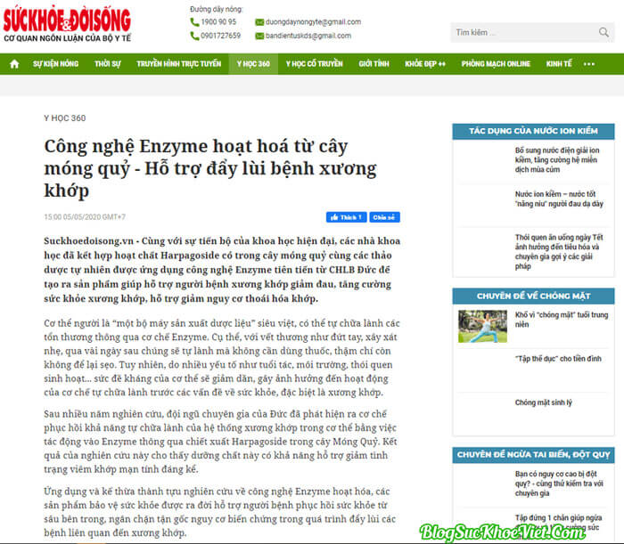 Báo chí đưa tin về viên sủi xương khớp Boca